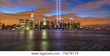 New York City skyline including 9-11 tribute lights