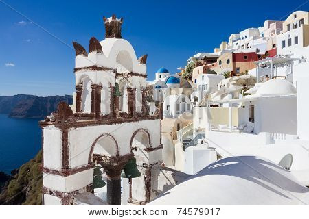 Ancient Church Tower At The Village Of Oia