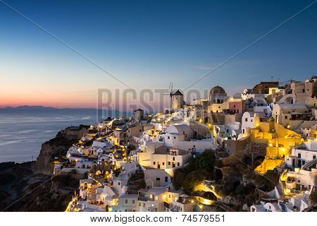 Cyclades Village Of Oia At Twilight