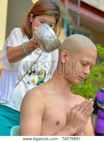 Thai Male In Buddhism Ordination Ritual