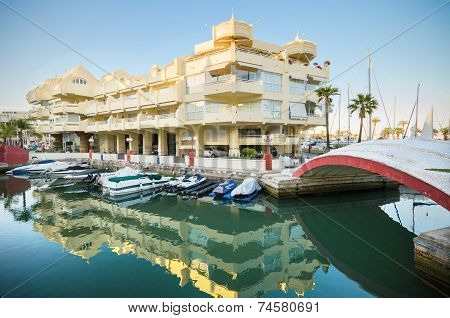 Scenic view of the residential area in Marina port at dusk in Benalmadena Malaga Spain