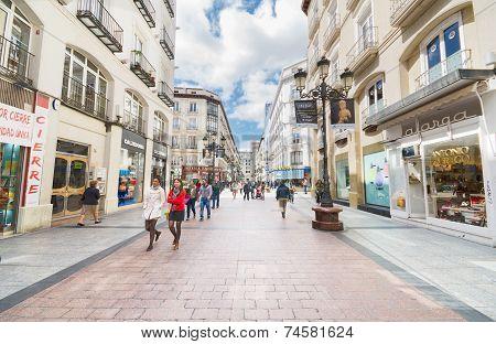 People Walking In A Famous Commercial Street In Zaragoza