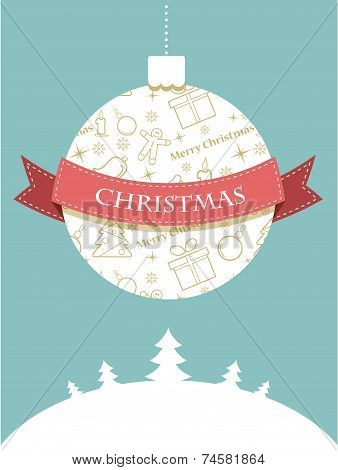 Christmas ball with seasonal objects pattern .  greeting card