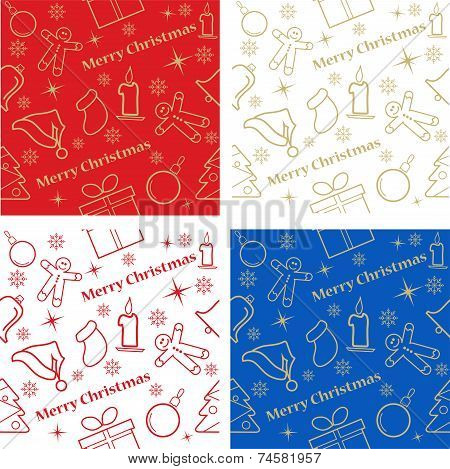 Four Christmas seamless backgrounds, great  choice for wrapping paper  pattern