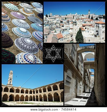 Collage Of Israel Landmarks ,motherland Of Three Main World Religions - Judaism,christianity,Islam