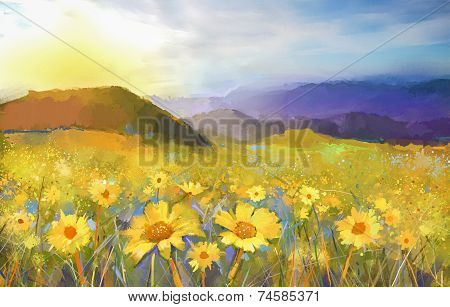 Daisy flower blossom.Oil painting of a rural sunset landscape with a golden daisy field.