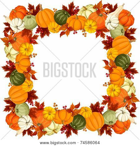 Frame with pumpkins and autumn leaves. Vector illustration.