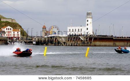 Power Boats Racing In Sea