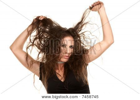 Pretty Woman With Wild Hair