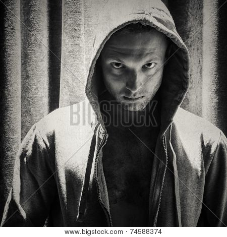 Sporty Man In Hood, Monochrome Portrait