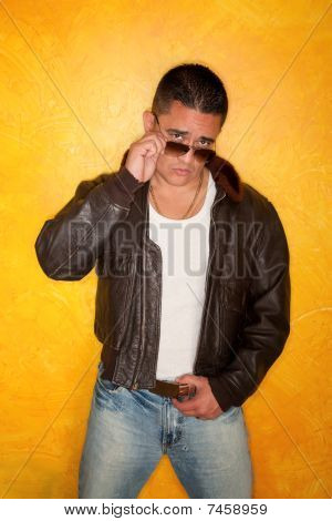Hispanic Man In Pilot Jacket