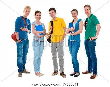 Happy smiling students standing together. Isolated on white background