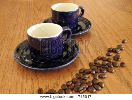 Cobalt Coffee Cups with Beans