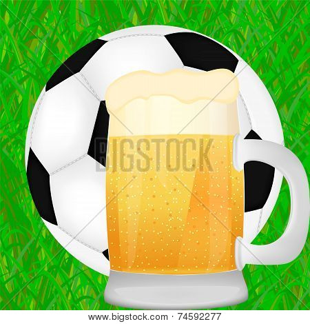 mug of beer and a soccer ball