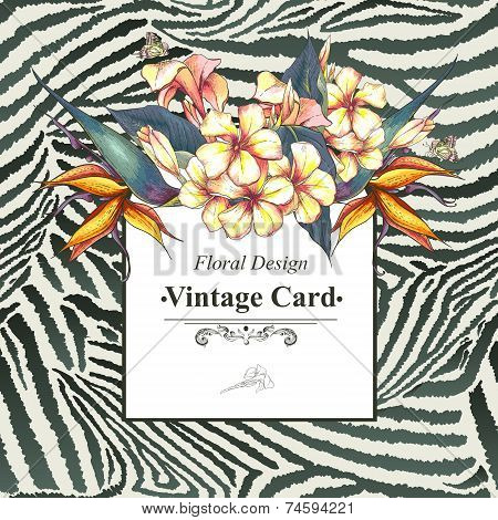 Vintage Card with Flowers on Zebra Background