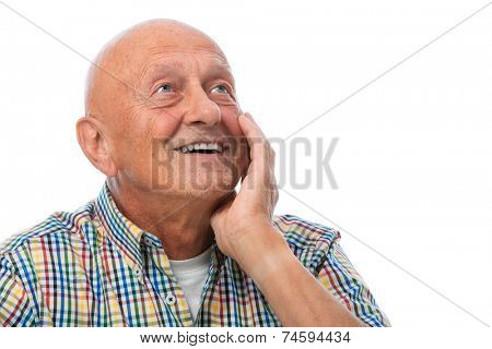 Happy smiling senior man looking up - isolated over white