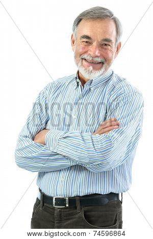 Portrait of  senior man with crossed arms isolated on white