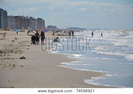 People On A Beach In Oostende, Belgium