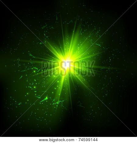 Dark green space vector explosion