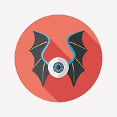 picture of bat wings  - Eye With Bat Wings Flat Icon With Long Shadow Design elements for mobile and web applications - JPG