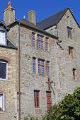 picture of mont saint michel  - houses inside the mont saint - JPG