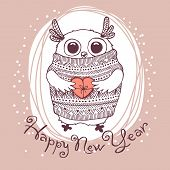pic of new years baby  - Hand drawn vector illustration with cute eagle owl - JPG