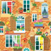 picture of flower pot  - Seamless pattern with Windows and flowers in pots - JPG