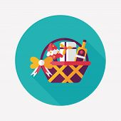 picture of gift basket  - Christmas Gift Baskets Flat Icon With Long Shadow - JPG