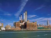 pic of empire state building  - View of Manhattan with Con Edison Plant and Empire State Building from East River - JPG