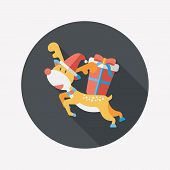 foto of rudolph  - Reindeer Flat Icon With Long Shadow - JPG