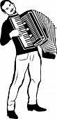 picture of accordion  - black and white sketch of a man playing the accordion - JPG