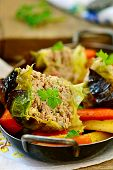 stock photo of root-crops  - baked pudding from a Savoy cabbage with meat and stewed root crops - JPG