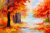 stock photo of abstract painting  - Oil painting landscape  - JPG