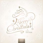 picture of embellish  - Christmas card in desaturated beige brown white shades with light effects - JPG
