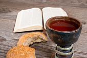 foto of chalice  - still life with bible and chalice of wine - JPG