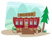 pic of diners  - Cartoon diner in a shape of a wagon with landscape in the background - JPG