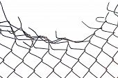 stock photo of chain link fence  - Grynge aged crushed rusty wire security fence isolated - JPG