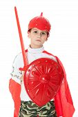 stock photo of valiant  - Young Boy Dressed Like a knight holding a sword and shield isolated on white - JPG