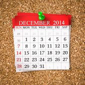 pic of calendar 2014  - December 2014 Calendar on cork board 3d render - JPG