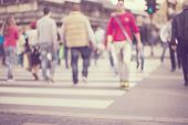stock photo of pedestrian crossing  - unrecognizable Pedestrians in modern city street - JPG