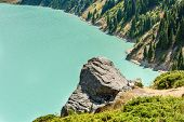 picture of shan  - Spectacular scenic Big Almaty Lake Tien Shan Mountains in Almaty KazakhstanAsia at summer - JPG