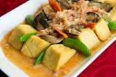 stock photo of chinese menu  - Chinese style cooking of braised beancurd with crabmeat - JPG