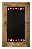 picture of wooden pallet  - Chalkboard christmas restaurant menu board reclaimed pallet wooden frame and small red gingham polka dots striped pillow stars with buttons isolated on white with copy space - JPG