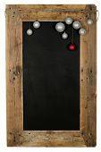 pic of wooden pallet  - Chalkboard christmas restaurant menu board reclaimed pallet wooden frame and hanging xmas balls isolated on white with copy space - JPG