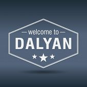 stock photo of dalyan  - welcome to Dalyan hexagonal white vintage label - JPG
