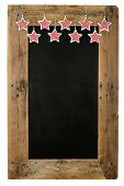 image of wooden pallet  - Chalkboard christmas restaurant menu board reclaimed pallet wooden frame and shabby chic gingham stars isolated on white with copy space - JPG