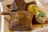 stock photo of roast duck  - Roasted duck with dumplings and gravy - JPG