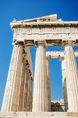 stock photo of parthenon  - Detail of the columns in the famous Parthenon temple in the Acropolis Athens Greece - JPG