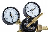 picture of manometer  - Gas pressure regulator with manometer isolated with clipping path