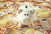 stock photo of coin bank  - Piggy Coin Bank standing on fifty Euro banknotes pile as home budget theme illustrative image - JPG